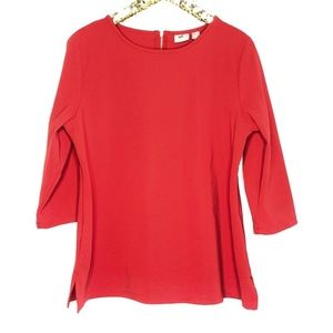 [Chico's] red 3/4 sleeve ribbed top #T11